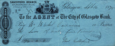 City of Glasgow Bank cheque