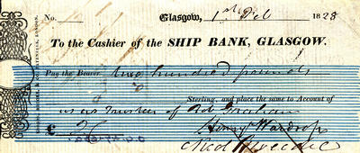 Ship Bank cheque