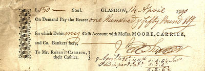 Moore, Carrick & Co cheque