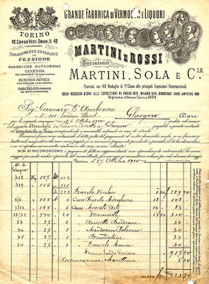 Invoice from Martini & Rossi