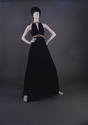 Black silk evening dress c 1972