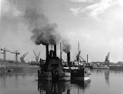 Dredger and Hopper on the Clyde, 1955