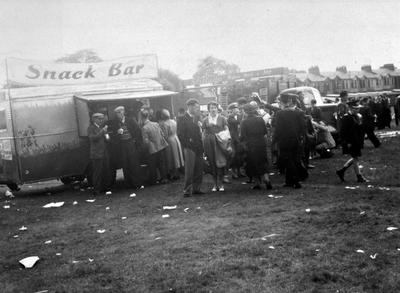 Snack bar at Scotstoun Showground, 1955